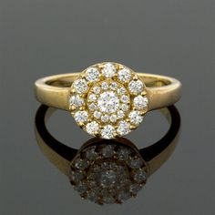 Art Deco Diamonds Set Engagement Ring in 18k by JulietAndOliver, $1390.00