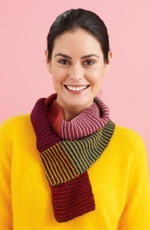 Lion Brand® Bonbons Colourful Striped Scarf (Knit)