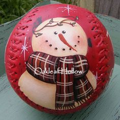 Handpainted Snowman Softball OOAK, This one is sold.but maybe she'd make mure if there was popular demand! Snowman Crafts, Christmas Projects, Holiday Crafts, Snowman Pics, Christmas Ideas, Christmas Snowman, Christmas Holidays, Christmas Decorations, Christmas Ornaments