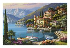 Beautiful 'Villa Bella Vista' by Sung Kim - Graphic Art Print by Great Big Canvas Wall Art Decor from top store Painting Prints, Wall Art Prints, Painting Trees, Deco Panel, Beach Landscape, New Blue, Stretched Canvas Prints, Landscape Paintings, Canvas Art