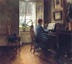 Chez Moi 1887 by Norwegian painter Harriet Backer Art Deco Artists, Artist Art, Spanish Artists, Dutch Artists, Oslo, Modern Art, Contemporary Art, Female Painters, Piano Art