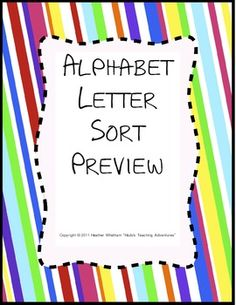 FREE alphabet letter sort -- there are two 2-letter sorts, two 3-letter sorts, and one 4-letter sort to help students differentiate between letters!