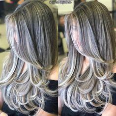 Grey Hair Young, Long Gray Hair, Ombre Hair, Balayage Hair, Silver Hair Highlights, Blonde Highlights, Grey Hair Transformation, Gorgeous Hair Color, Layered Haircuts