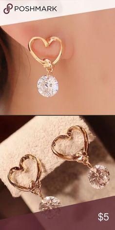 Heart Earrings Heart stud earrings with round dangling gem❤️ Jewelry Earrings
