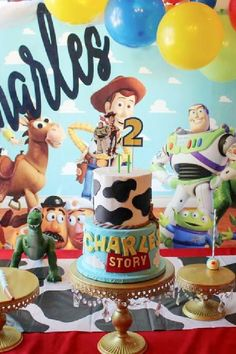 Don't miss this fun Toy Story birthday party! Love the birthday cake! See more party ideas and share yours at CatchMyParty.com #catchmyparty #partyideas #toystory #toystoryparty #boybirthdayparty