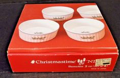 Nikko Happy Holidays Ramekin 5 Oz Set of FOUR in Original Box NICE & St. Nicholas Square Snow Days Appetizer Plates Set of 4 in Orig Box ...