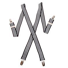 """Suspender Factory 30"""" Children's Elastic Suspenders (Black & White Stripe) Suspender Factory"""