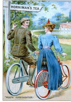 Couple sur des bicyclettes.
