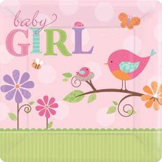 Bird Baby Shower Plates in the Tweet Baby Girl pattern for an adorable girl baby shower