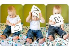 "Taking the usual spelled out ""One,"" but letting baby interact with the letters...love it!"