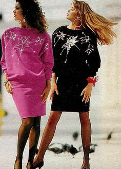 80s fashion, broad loose tops with tight forearms and tight bottoms (skirts)