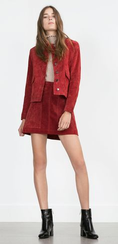 Zara red rust button up suede skirt and jacket 70s style