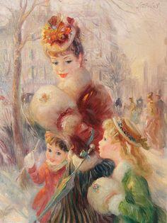 Winter Sunshine - painting by John Strevens (British, 1902-1990)