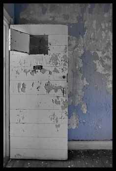 door in an abandoned state hospital