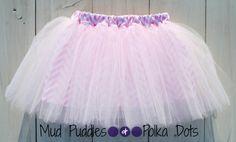 Tutu Skirt Lined Pink Chevron  white baby by PolkaDotsMudPuddles