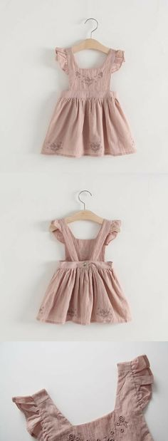 Pinafore Dress Embroidered Toddler Girls Dusty Pink