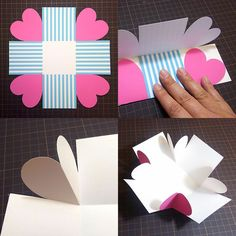valentines day sorprise How to create a surprise box from . - valentines day sorprise How to create a surprise box from simple template material t - Birthday Explosion Box, Birthday Box, Happy Birthday Cards, Birthday Gifts, Diy Gift Box, Diy Gifts, Cadeau St Valentin, Exploding Gift Box, Surprise Box