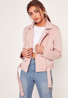 Missguided - Pink Neoprene Biker Jacket
