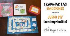Un juego DIY acompañado de cuentos sobre emociones. Para aprender a nombrar, reconocer y expresar las emociones que vivimos cada día. Educación emocional a través del juego.