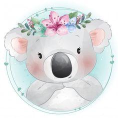 Cute Little Koala Bear With Floral Portrait Baby Animal Drawings, Cute Drawings, Watercolor Background, Floral Watercolor, Cute Images, Cute Pictures, Cute Koala Bear, Baby Animals, Cute Animals