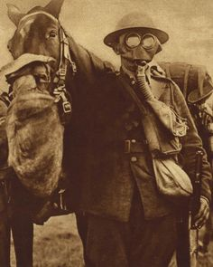 "WW1 may have ushered in ""modern"" warfare, but horses were still used.  Here's a photo of a horse and his rider outfitted to protect them from that dastardly new weapon, poison gas.     Another picture from the Photos of the Great War Archive.  http://www.gwpda.org/photos/greatwar.htm  #WW1, #history, #Animals"