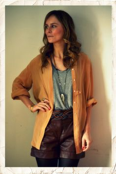This look is so simple, a casual chiffon button down with a neutral tank underneath.