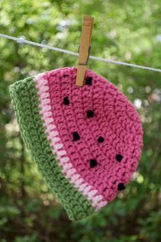 Crochet Watermelon Beanie by crochetcat287 on Etsy