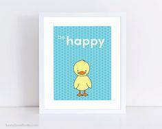 Duck Childrens Art Print by SunnyDoveStudio #cute #kawaii #duck #kids #children #baby #nursery #decor #etsy #handmade