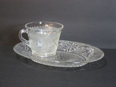 Indiana Glass Tiara Sandwich Glass Clear Oval Snack Plate w/ Cup Set, Vintage! #IndianaGlass