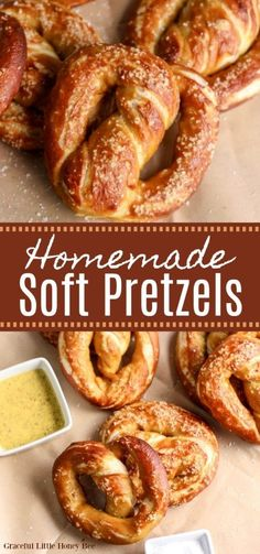 Try making these Homemade Soft Pretzels with Mustard Dipping Sauce for a delicious treat! Find the recipe at gracefullittlehoneybee.com #softpretzels #baking Vegan Recipes Easy, Beef Recipes, Baking Recipes, My Recipes, Snack Recipes, Party Recipes, Sweets Recipes, Family Recipes, Homemade Soft Pretzels
