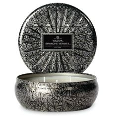 Voluspa 3 Wick Decorative Tin-French Bourbon Vanille-Distressed and speckled vintage silver designs grace these candle tins with intricately embossed lids. Exclusive formulation of the highest quality waxes and fragrances fill these graceful shapes. Fancy Candles, 3 Wick Candles, Scented Candles, Vintage Stil, Vintage Silver, Voluspa Candles, Bourbon Vanille, Candles Online, Candle Magic