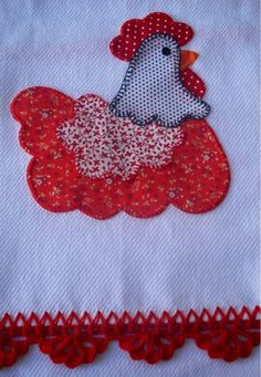 Would make a nice kitchen towel. Sewing Appliques, Applique Patterns, Applique Quilts, Applique Designs, Embroidery Applique, Quilt Patterns, Machine Embroidery, Quilting Projects, Sewing Projects