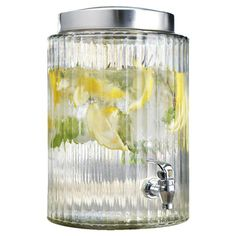 Ribbed clear glass beverage dispenser.   Product: Beverage dispenserConstruction Material: GlassColo...