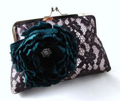 Black lace clutch with teal green silk flower / brooch / elegant evening purse on Etsy, $115.00