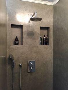 Concrete Shower, Concrete Bathroom, Small Bathroom Sinks, Bathroom Toilets, Bathrooms, Bathroom Design Luxury, Modern Bathroom Design, Shower Remodel, Bathroom Organisation
