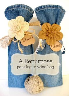 Bag Repurpose ~ pant leg to wine bag Great way to recycle too-small or out-of-style jeans into a fun gift bag for wine.Great way to recycle too-small or out-of-style jeans into a fun gift bag for wine. Fabric Crafts, Sewing Crafts, Cork Crafts, Craft Projects, Sewing Projects, Sewing Blogs, Project Ideas, Wine Bottle Crafts, Wine Bottles