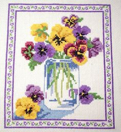 Mason Jar Bouquet Completed Cross Stitch Picture by oldskoolkrafts on etsy.