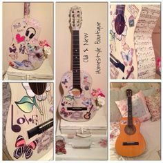 An ordinary guitar painted in chalk paint  decoupaged with old  new cut out prints with a music  shabby chic twist :)