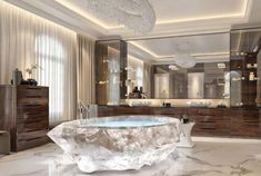 crystal bathtub - These crystal bathtubs have bene unveiled as the crowning touch within the lavatories of the XXII Carat villa complex in Dubai on the Palm Jumeirah. Villa Design, House Design, Mansion Bedroom, House Goals, Unique Home Decor, Room Inspiration, Luxury Homes, Kitchen Design, Interior Design