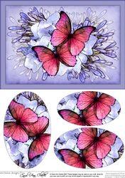 A5 Butterflies & Flowers Oval Pyramage Topper