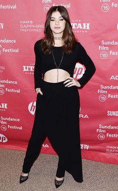 Hailee Steinfeld in a Baja East bodysuit and pants and Tamara Mellon Tease pumps