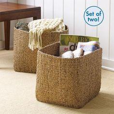 Set of 2 Water Hyacinth Storage Basket Cubes