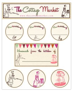 A Vintage Free Printable Collection of Retro Kitchen Labels..