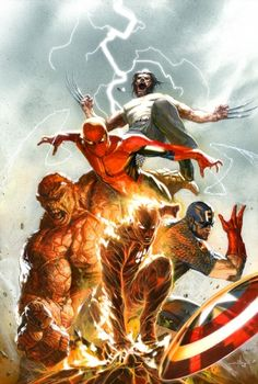 Wolverine, Spider-Man, The Thing and Captain America by Gabriele Dell'Ottos