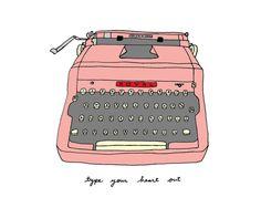 Vintage Typewriter- Choose Your Color- 5x7 Illustration Print on Etsy, $11.00