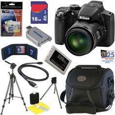 "Nikon COOLPIX P510 16.1 MP CMOS Digital Camera with 42x Zoom and ""GPS"" (Black) + EN-EL5 Battery + 9pc Bundle 16GB Deluxe Accessory Kit"
