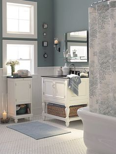 Blue-grey bathroom design. Andrew and I want a dark and light contrast for our bathroom and have chosen this color of blue with a darker grey.