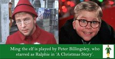 TIL that Ming the elf in 'Elf' is played by Peter Billingsley, who starred as Ralphie in 'A Christmas Story.' - Imgur