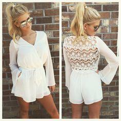 White Lace Back Romper - Smooch Boutique