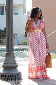 First, what is more comfy than a maxi dress? Nothing. It's basically a nightgown. Second, I love a dress that has color and pattern to carry the whole outfit. Shoes, shades ... boom!